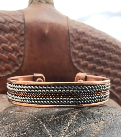 Magnetic Two Tone Copper and Silver Barbed Wire Bracelet