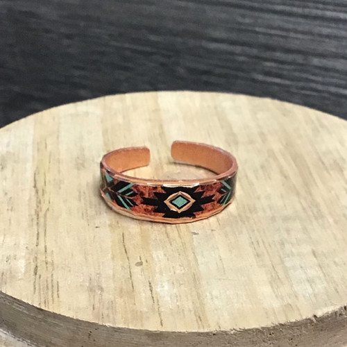 Southwest Vibrant Red Copper Ring