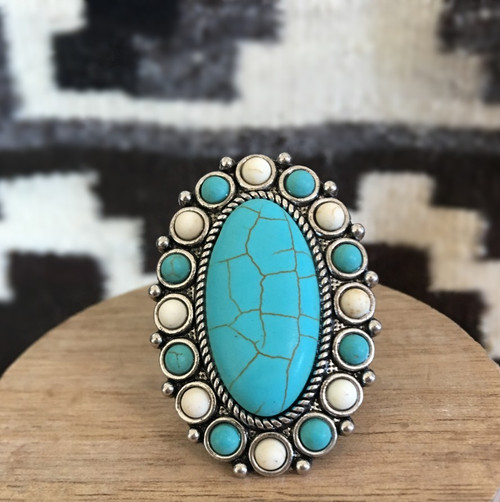 Beaded Beauty Turquoise Ring