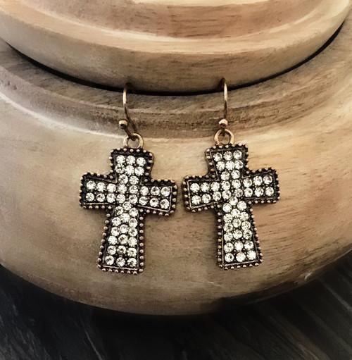 Bling It On Cross Earrings