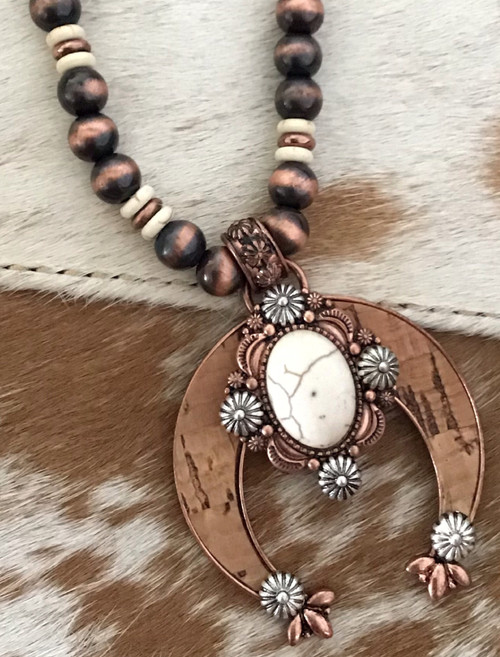 Cork Naja Squash Blossom Necklace