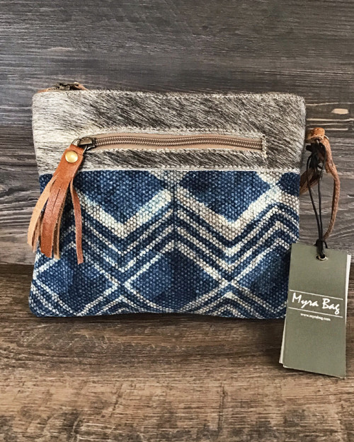 Winter Sky Blue Canvas and Cowhide Pouch