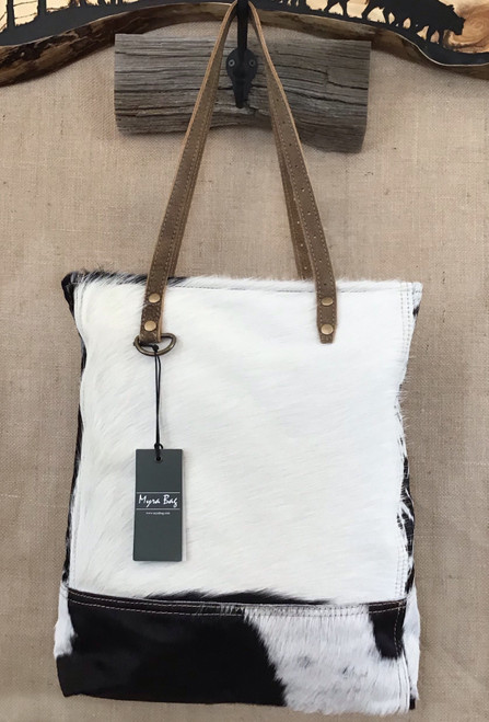 Impression Black and White Cowhide Bag
