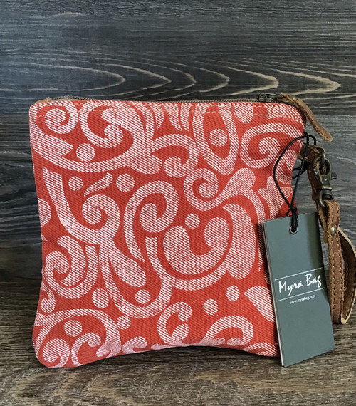 Red Swirl Canvas Pouch