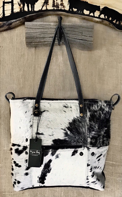 Stunning Black and White Cowhide Tote