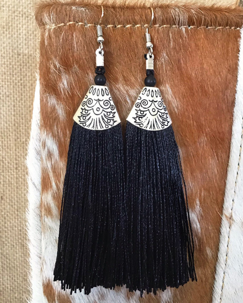 Ooh La La Tassel Earrings - Black