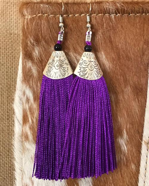 Ooh La La Tassel Earrings - Purple