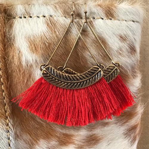 Finishing Touch Hoop Tassel Earrings - Red