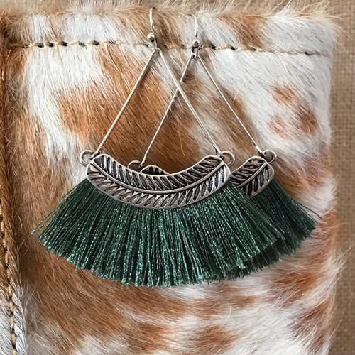 Finishing Touch Hoop Tassel Earrings - Forest Green