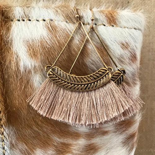 Finishing Touch Hoop Tassel Earrings - Sand