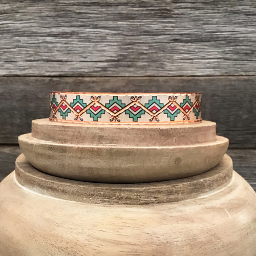 Narrow Style Red and Green Copper Mountain Bracelet