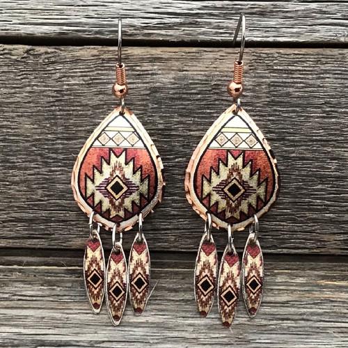 Southwest Design Copper Earrings