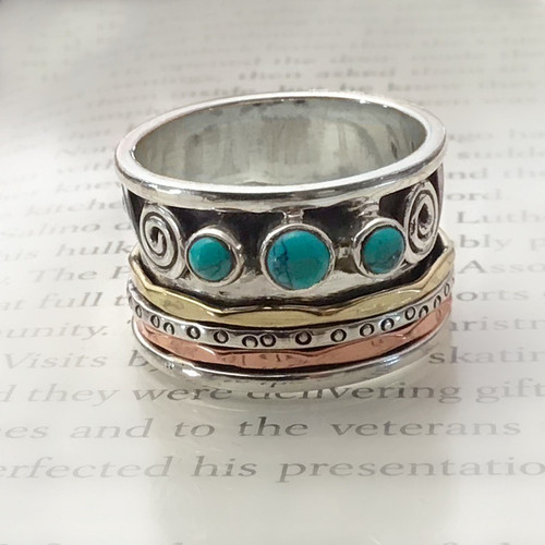 Sterling Silver Cigar Ring with Turquoise