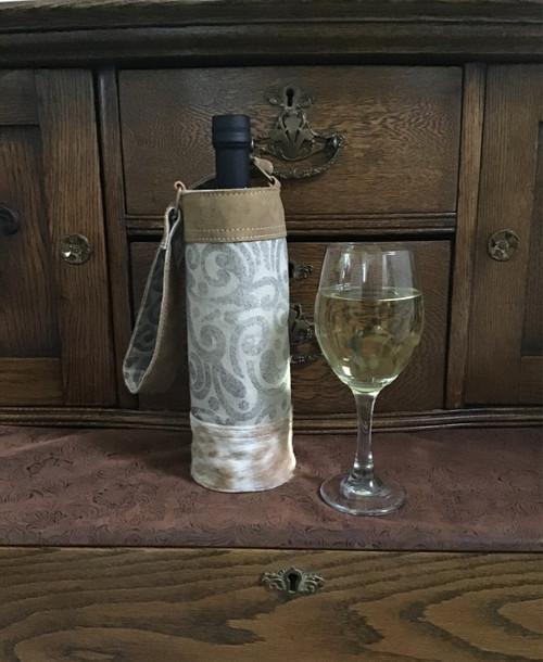 Leaf Print Wine Bag