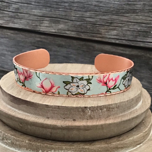 Narrow Style Van Gogh Roses Copper Bracelet