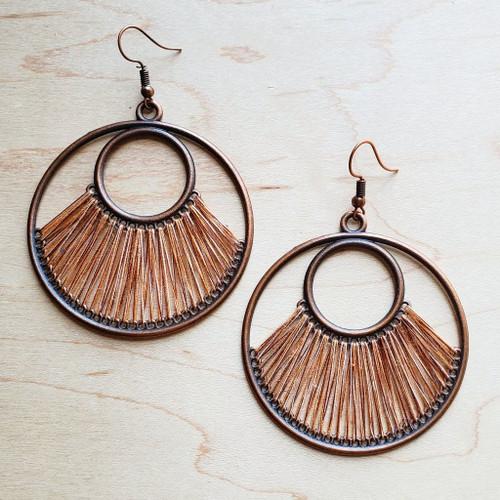 Terra Cotta Fan Hoop Earrings