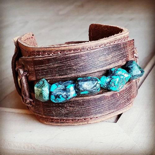 Dusty Leather Bracelet with Turquoise