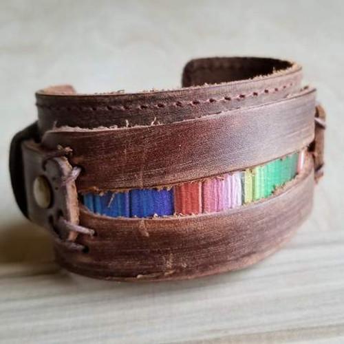 Dusty Leather Serape Bracelet