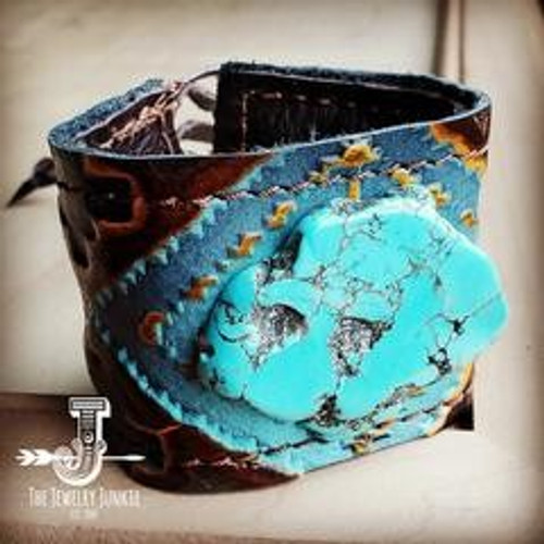 Leather Cuff with Tie Blue Turquoise Slab