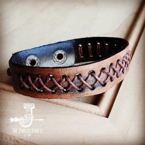 Leather X Stitch Bracelet