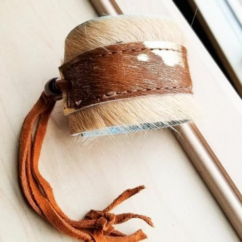 Cowhide on Leather Cuff