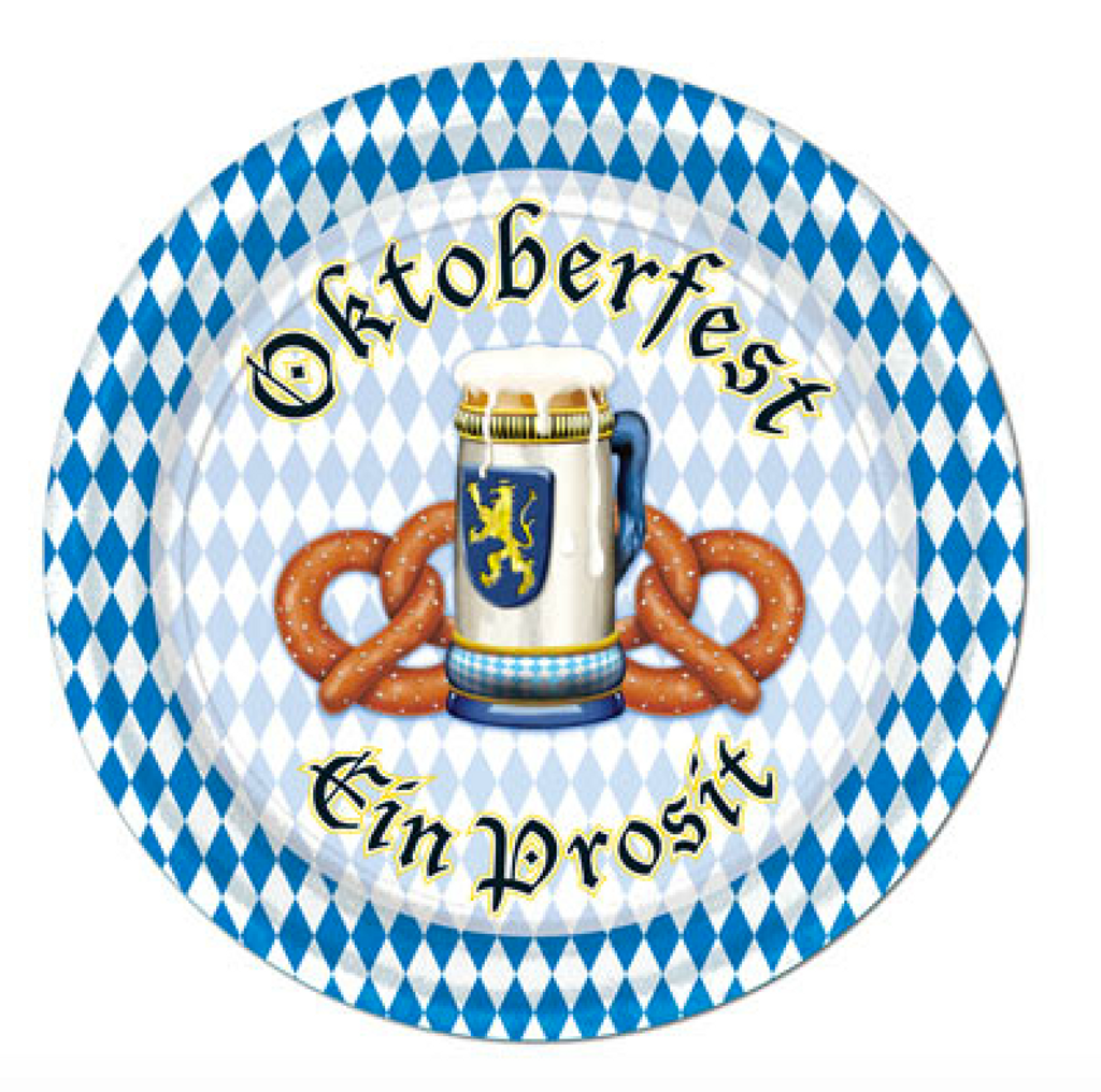 "Oktoberfest Beer and Pretzel Plate 9"" (8/pkg)"