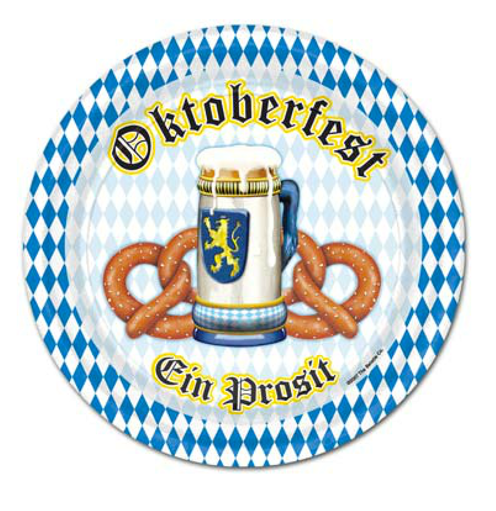 "Oktoberfest Beer and Pretzel Plate 7"" (8/pkg)"
