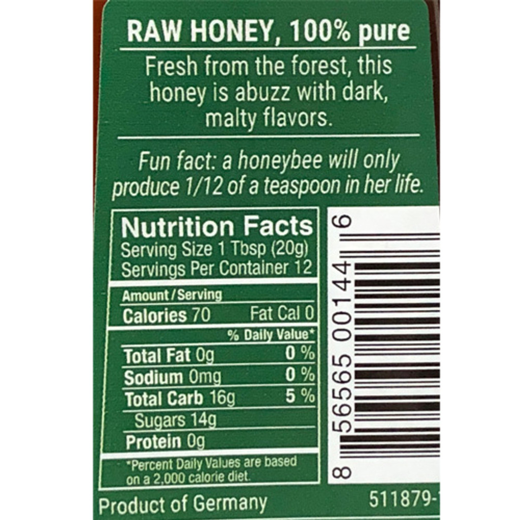Bee Buddy German Forest Tree Honey 8.8 oz in squeeze bottle