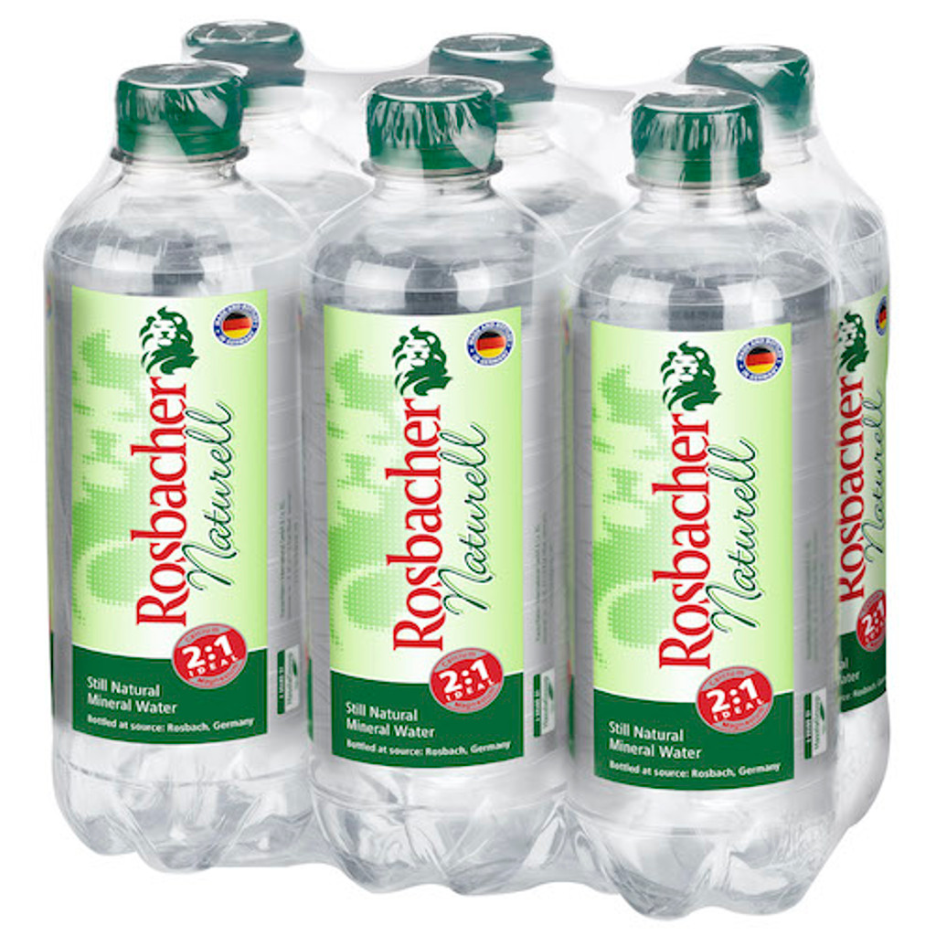 "Rosbacher ""Naturell"" Original German Mineral Water, Still, 6 x 16.8 fl oz"