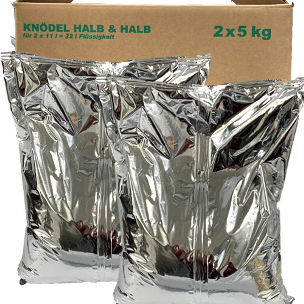 Kartoffelland Potato Dumplings Half and Half, Food Service Pack, 2 x 5 kg