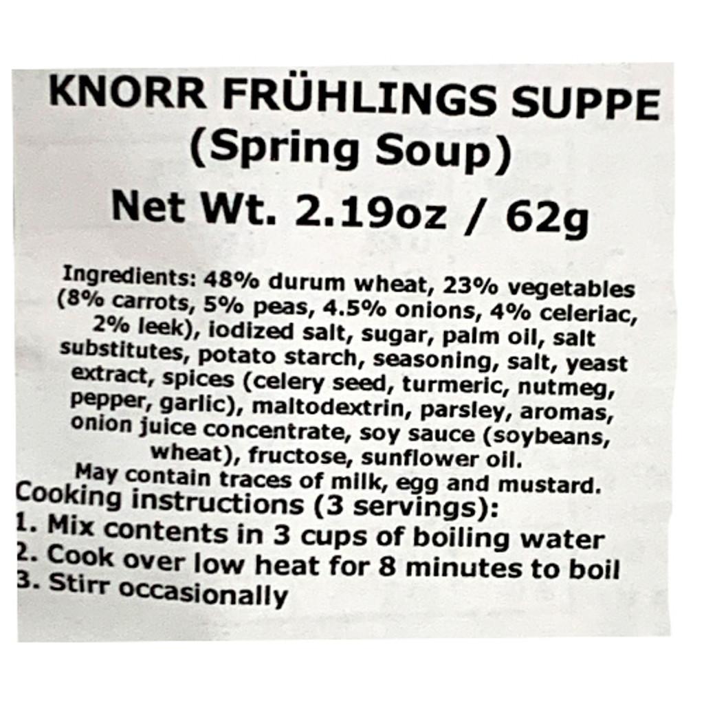 Knorr Spring Soup (Fruehlingssuppe) Ingredients