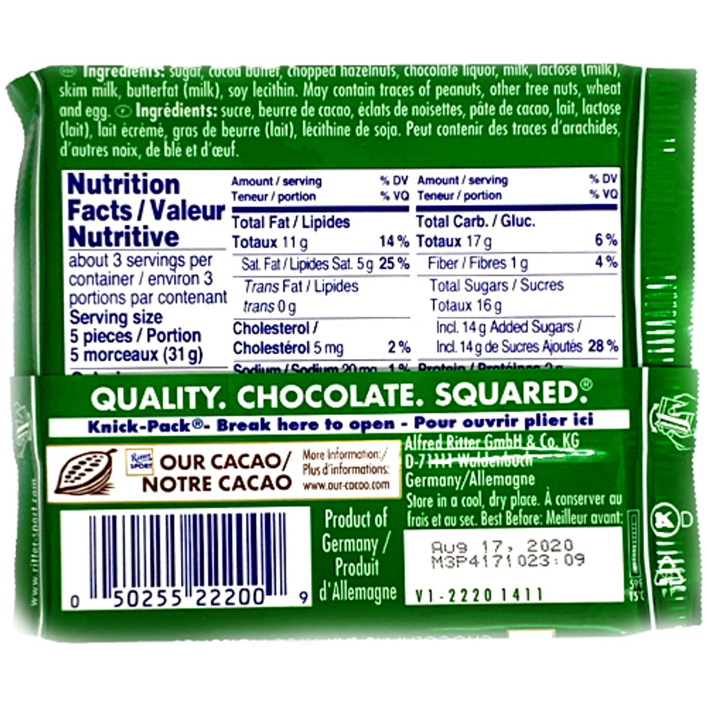 Ritter Milk Chocolate with Hazelnuts Nutrition Facts