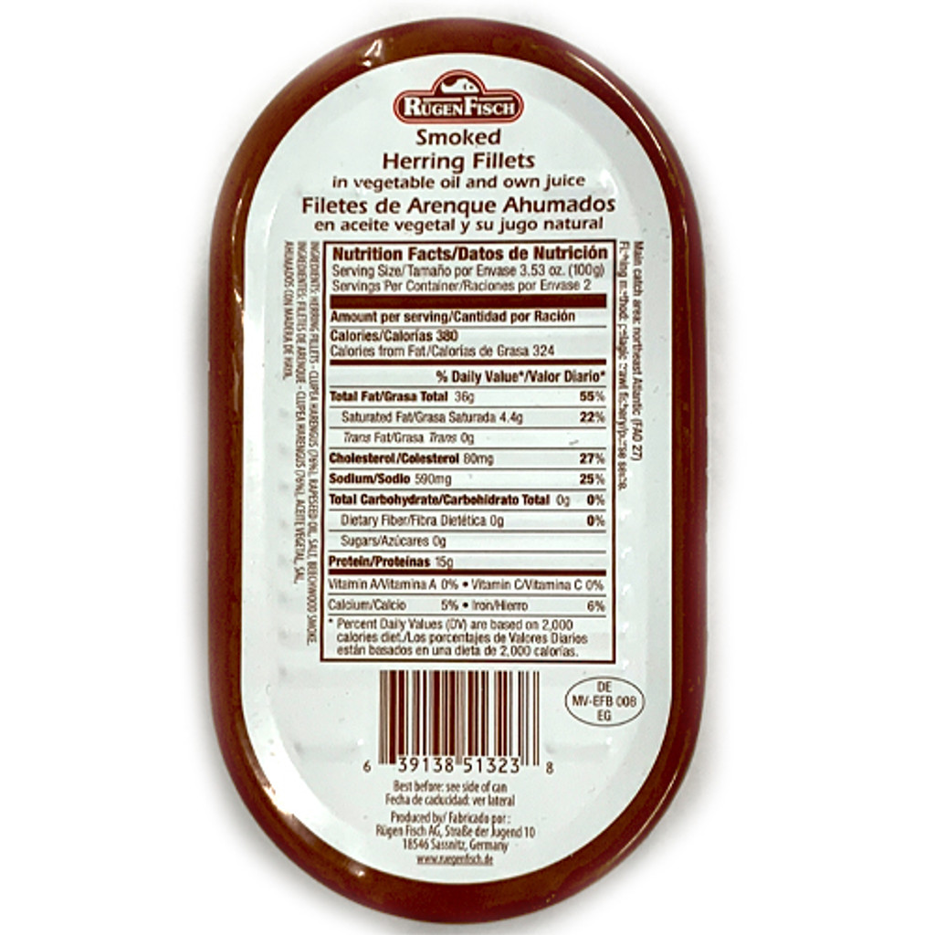 Ruegenfisch Smoked Herring in Vegetable Oil and Own Juices Nutrition Facts