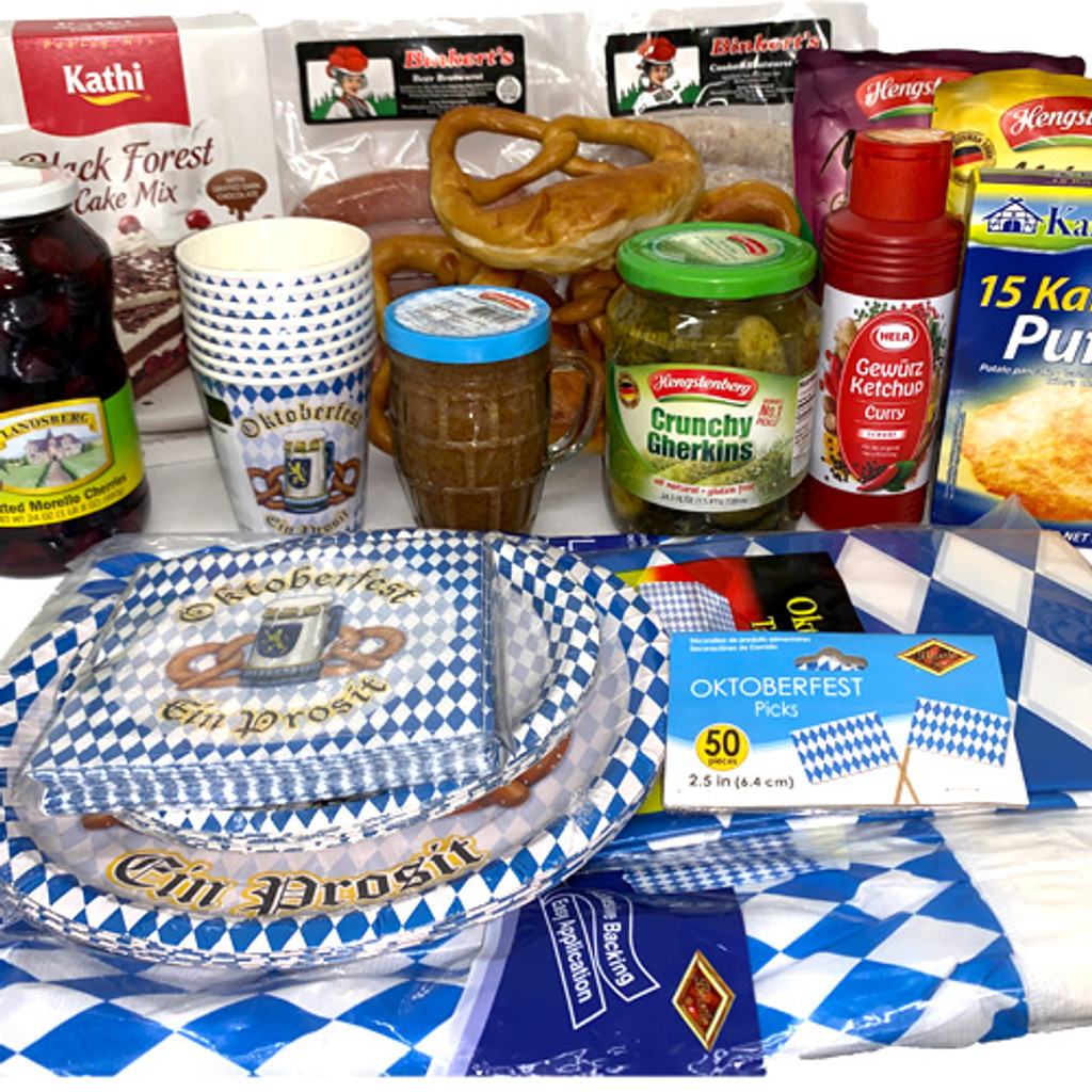 The Taste of Germany Oktoberfest Party Box for 8, with bratwurst and other sausages, perishable 19 lbs.