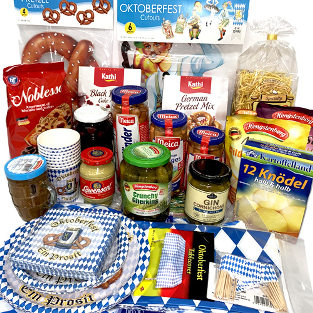 The Taste of Germany Oktoberfest Party Box for 12, with orginal German-made sausages, non-perishable 30 lbs.