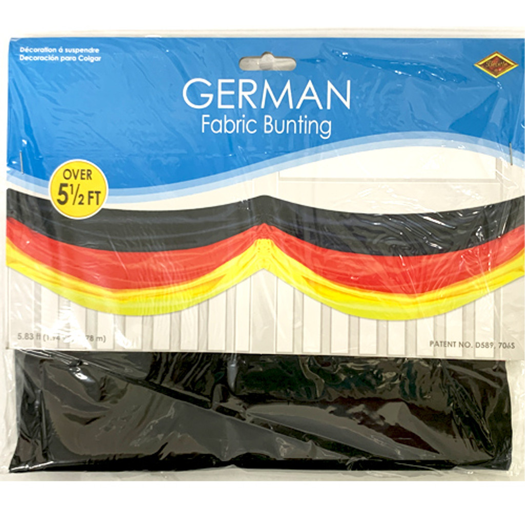 German Table Bunting, fabric, black,red, golden colors, 6 feet