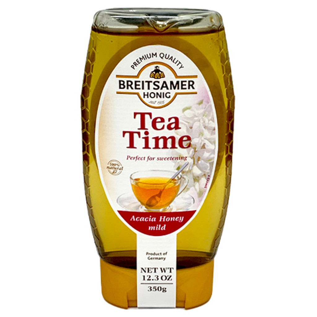Breitsamer Tea Time German Acacia Honey 12.3 oz in squeeze bottle