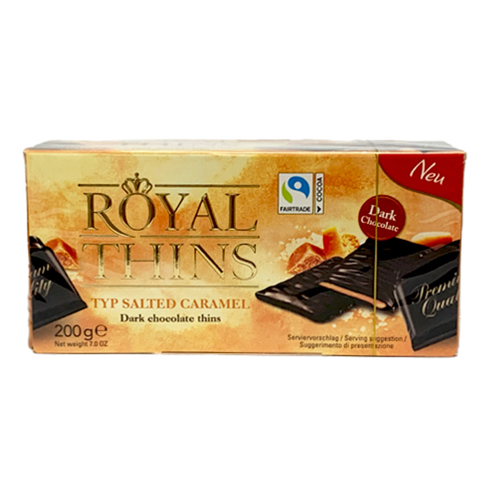 Halloren Royal Thins with Salted Caramel Cream in Dark Chocolate 7.0 oz