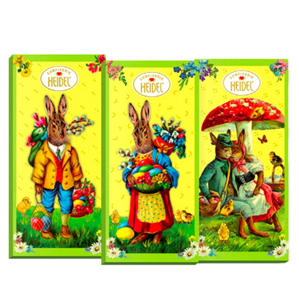 Heidel  Fine Milk Chocolate in Nostalgic Easter Bunny Design Box, 3.5 oz