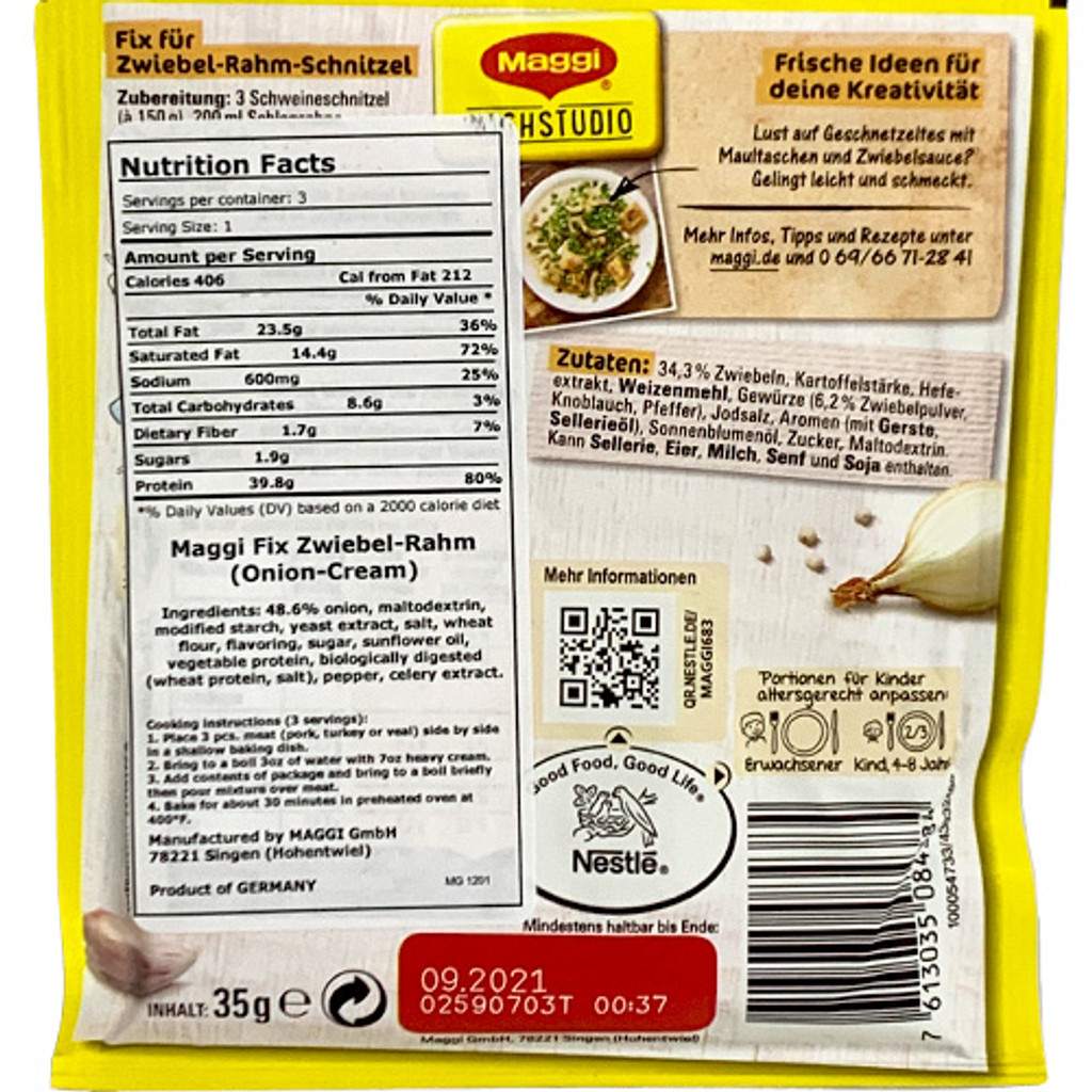 "Maggi ""Fix"" Schnitzel in Onion and Cream Sauce Seasoning Mix, 1 oz"