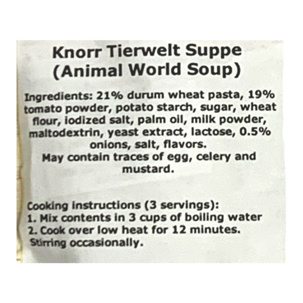 """Knorr """"Suppenliebe"""" Animal World Tomato Pasta Soup, 2.5 oz"""