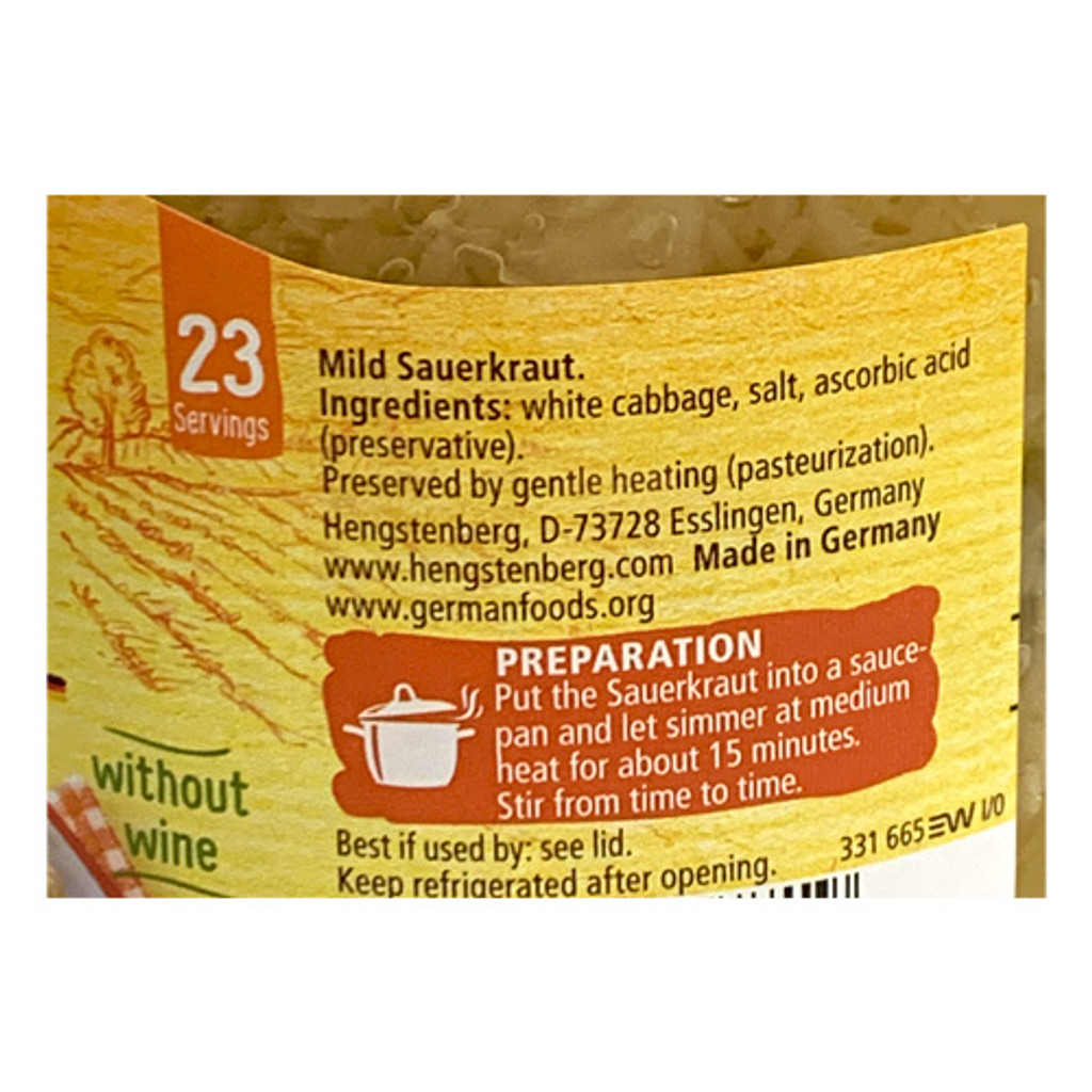 Hengstenberg Authentic German Sauerkraut, 24 oz
