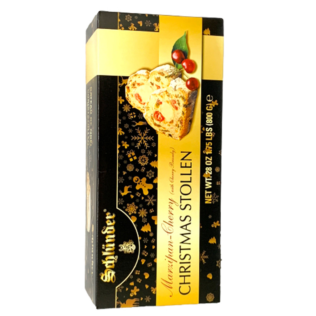 "Schluender ""Black Forest"" Marzipan Cherry Stollen with Cherry Brandy in Gift Box 28 oz"