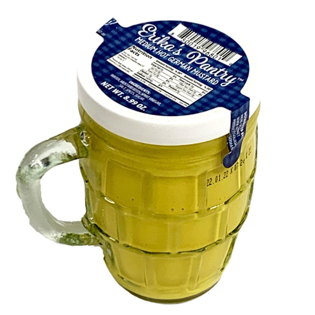 Kuehne Medium Hot  Mustard in Glass Stein Jar 8.7 oz