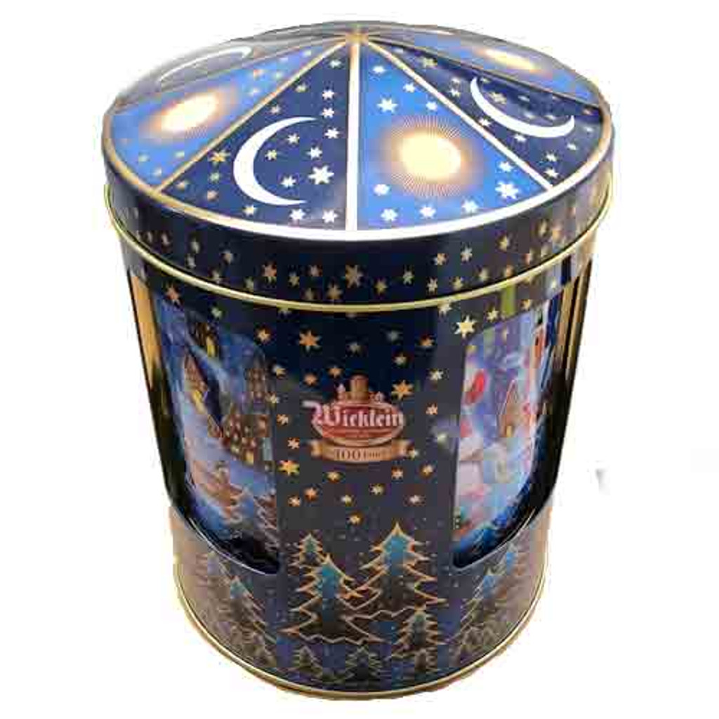 Wicklein Musical Box Round Tin with Assorted Elisen Gingerbreads 4 ct.