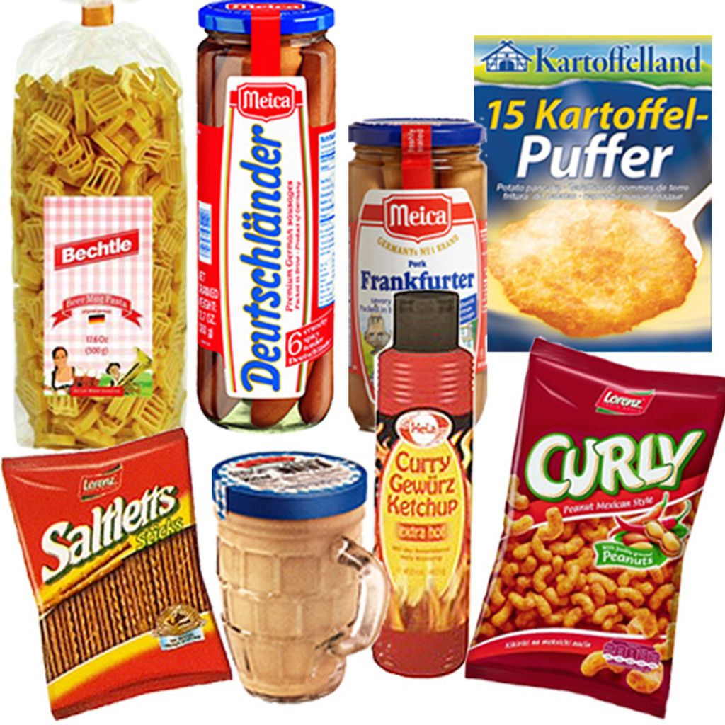 "Authentic German - Beer Mug - shaped pasta, Deutschlaender Premium Pork Sausages, Original Frankfurter Sausages, Potato Pancake Mix, Medium Hot Mustard in a glass stein, Curry Ketchup from Bremen, Curly ""Peanut Flips"" (Peanut-Flavored Corn Puffs), Frankfurt Salty Sticks"