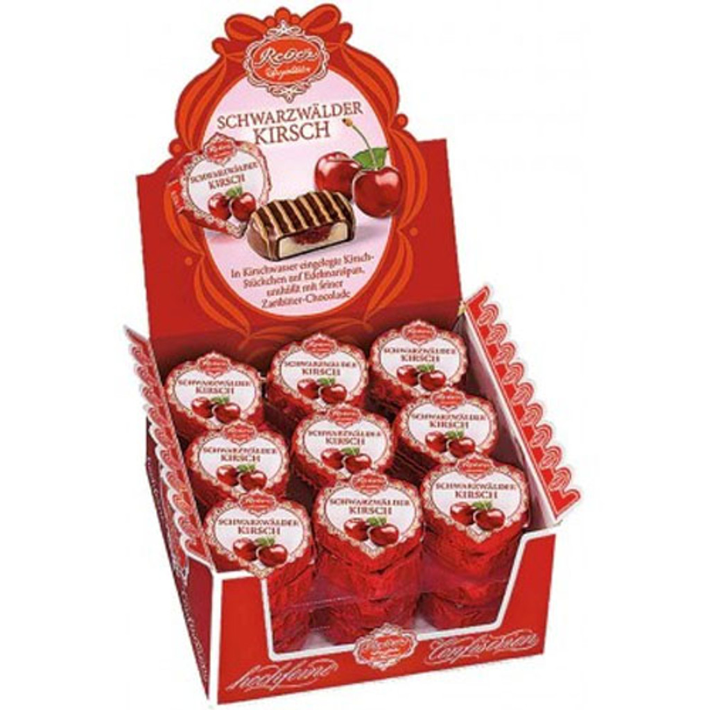 Reber Black Forest Chocolate Marzipan Hearts with Cherry Preserve 36 pc.