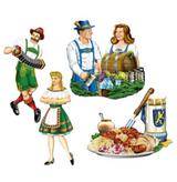 "Oktoberfest Dancing People Cutouts 13 1/4"" x 16 1/4"" printed 2 sides (4/pkg)"