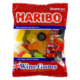 Haribo British Wine Gummies in bag 7 oz.