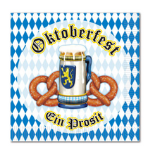 Oktoberfest Beer and Pretzel Beverage Napkin 2ply (16/pkg)